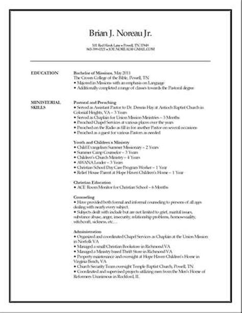 church resume sle