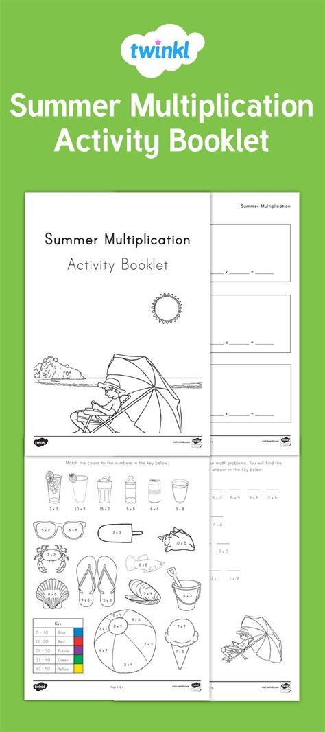 summer math multiplication activity booklet  fabulous