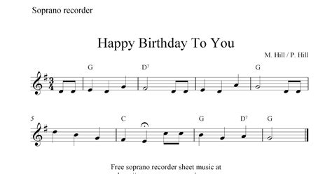 First recorder songs information sheet. Happy Birthday To You, free soprano recorder sheet music notes