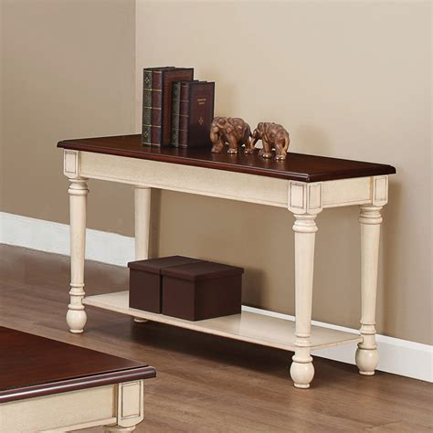 coaster  sofa table dark brown antique white   homelementcom