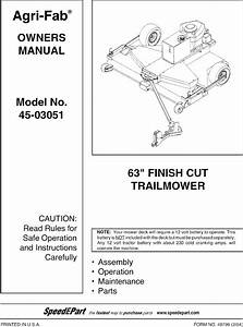 Agri Fab 45 03051 User Manual 63 Finish Cut Trail Mower