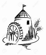 Mill Water Coloring Watermolen Grist Molino Vatten Agua Laminatoio Acqua Watermill Clipart Template Mala Sketch Illustratie Graphic Wheel Flour Drog sketch template