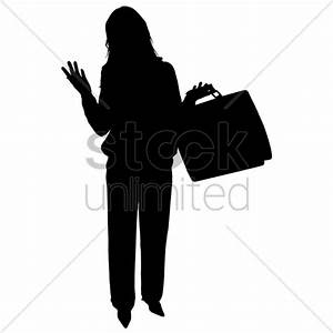 Businesswoman with briefcase silhouette Vector Image ...