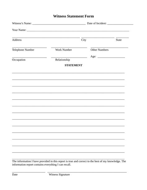 witness statement template 14 employee witness statement forms free word pdf format