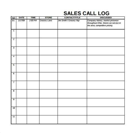 sales log template 6 download free documents in pdf excel