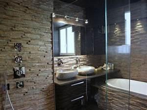 douche avec mur en pierre naturelle bathroom pinterest With salle de bain design avec evier pierre naturelle