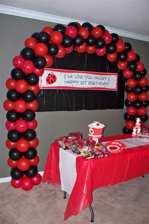 My Ladybug Themed Balloon Arch First Birthday Ideas