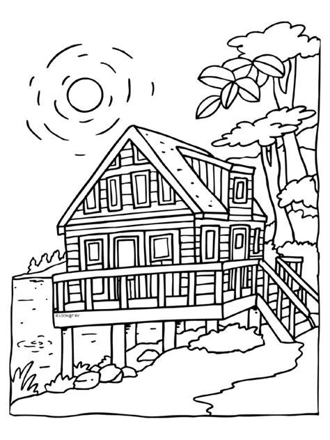 Kleurplaat Huisjes by Leuke Huisjes Kleurplaat Kleurplaat Vakantiehuis Chalet