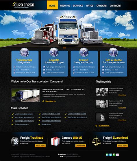transport website template transportation website template best website templates