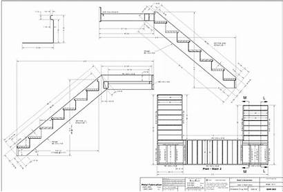 Stairs Stair Drawing Drawings Working Staircase Plans