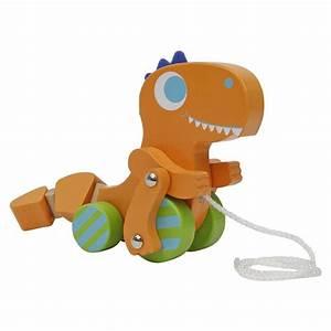Orange Wooden Dinosaur Pull-Along Toy – Aaron's Toy Chest
