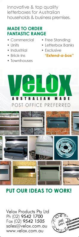 velox products pty ltd mail boxes 48 waratah st kirrawee