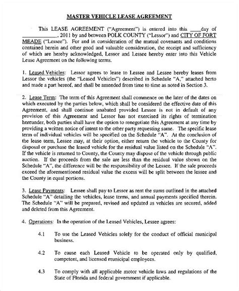 vehicle lease agreement templates docs word