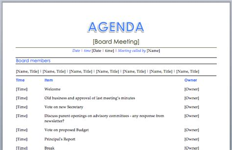 agenda template google meeting agenda search business documents templates search and