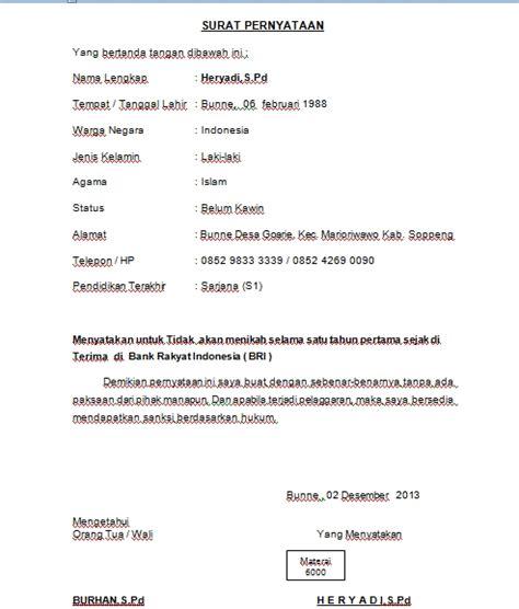 Contoh Surat Izin Meninggalkan Instansi by Contoh Surat Pernyataan Tidak Akan Menikah Selama 1 Tahun