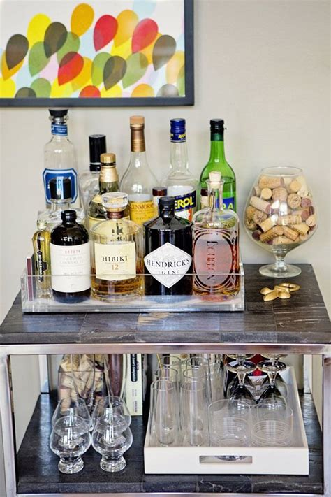 How To Decorate A Bar by Use Trays To Keep Your Bar Cart Organized Kitchen Decor