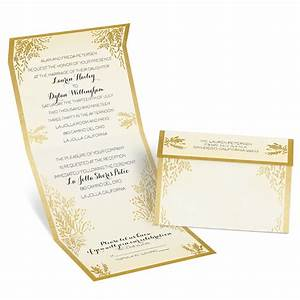 Ferns of gold seal and send invitation ann39s bridal bargains for Wedding invitations with gold wording