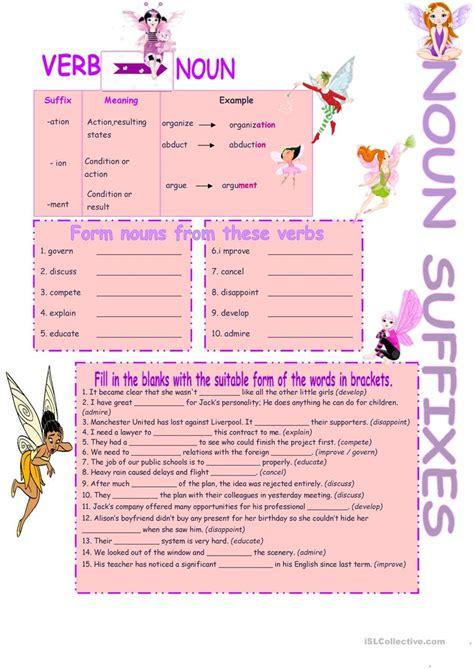 noun suffixes worksheet free esl printable worksheets