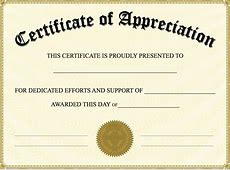 Certificate of appreciation templates template for word
