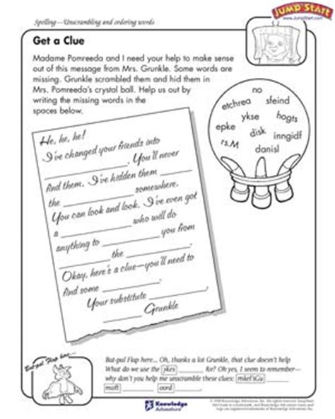 get a clue 4th grade language arts worksheets jumpstart
