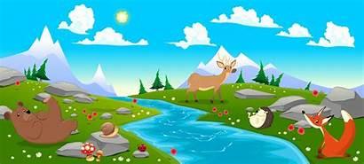 River Mountain Landscape Animals Vector Cartoon Illustration