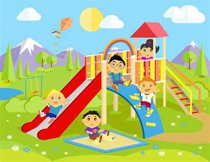 Playground Children Slide Play Outdoor Park Vector