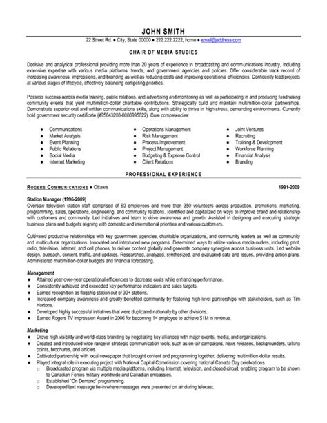Professional Media Resume Template by Chair Media Studies Resume Sle Template