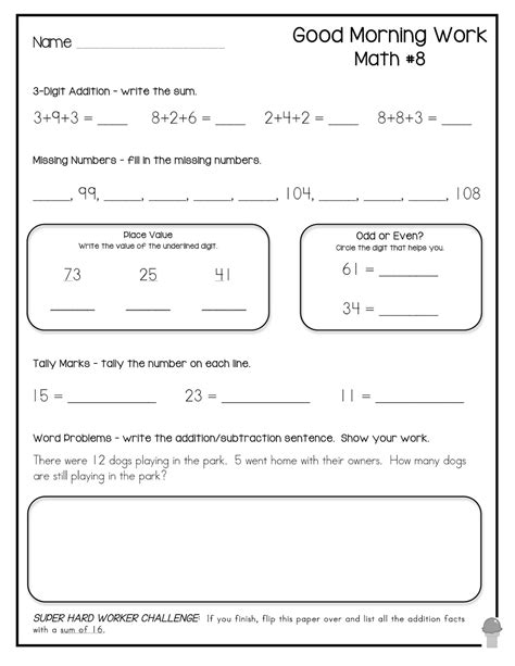 morning work worksheets for second grade 12 best images of 2nd grade morning math worksheets 2nd