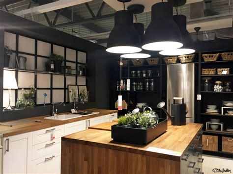 Black, White And Wood Kitchen Display Room At Ikea