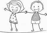 Holding Hands Coloring Boy Printable Getcolorings sketch template