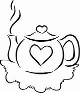 Coloring Teapot Pages Tea Drink Colouring Teacup Printable Pots Sets Parties Sheets Clip Valentine Simple Birthday Template Popular Clipart Cliparts sketch template