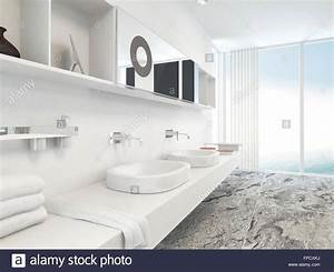 Modern Wall Mounted White Double Vanity Unit With Hand
