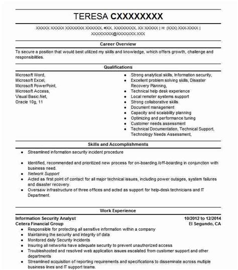 Information Security Resume by Information Security Analyst Objectives Resume Objective