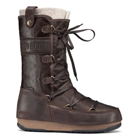 Polyester Snow Boots by Moonboot Moon Boots Monaco Mix Dark Brown Waterproof