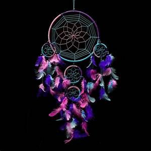Dream Catcher ~ Handmade Traditional Aqua Blue, Pink