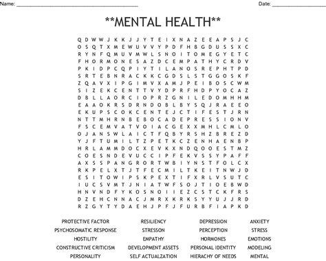 **mental Health** Word Search