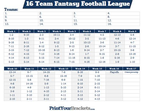 printable  team fantasy football league schedule