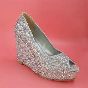 silver wedge bridesmaid shoes silver wedding shoes wedges heel rhinestone open toe 2015 real image plus size bridal shoes