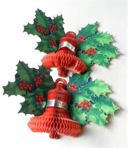 pair of vintage paper card honeycomb bell holly wall christmas decoration circa 1950s