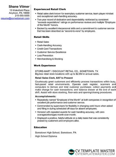 Professional Cv Sles by Cv Or R 233 Sum 233 Exle For A Retail Sales Application