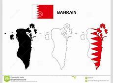 Bahrain Map Vector, Bahrain Flag Vector, Isolated Bahrain