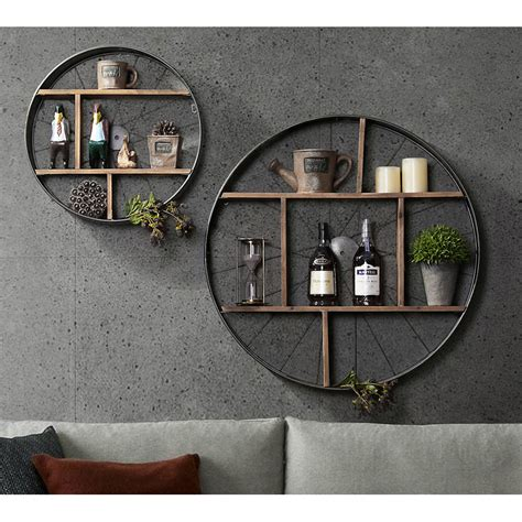 black iron solid wood shelves  wheels industrial wall