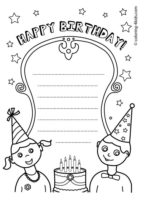 happy birthday printables coloring pages  kids kids