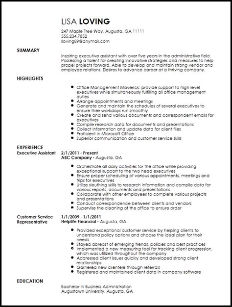 Resume Templates For Assistant by Free Creative Executive Assistant Resume Template Resume Now