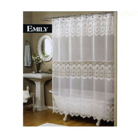 best emily sheer voile lace shower curtain white for