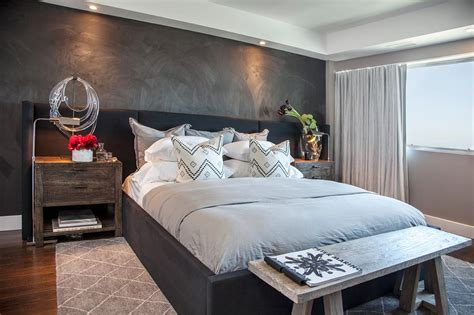 contemporary bedroom with textured gray accent wall hgtv