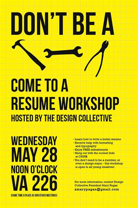 resume workshop poster on behance