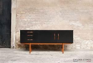Buffet Scandinave Vintage : gentlemen designers mobilier vintage made in france enfilade scandinave noir sideboard teck ~ Teatrodelosmanantiales.com Idées de Décoration