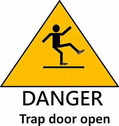 Trap Falling Into Avoid Danger Warning Trapdoor