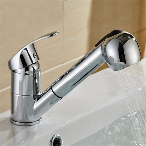 kitchen sink water tap faucet pull single handle pull out sprayer shower kitchen